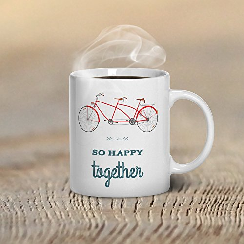 e Coffee Mug, Romantic Mug, So Happy Together Mugs, Tandem Bicycle Gift, Gifts for Couples Gift for Husband Gift for Man, 11oz, 15oz, gift ()