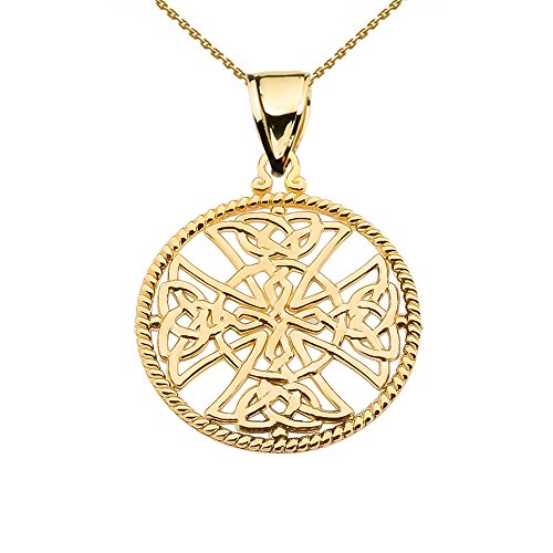 14k Yellow Gold Trinity Knot Celtic Cross Round Rope Design Frame Pendant Necklace, 18