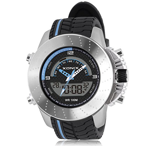 Boy's racing multi-function digital electronic watch, Cool led 100 m waterproof dual display dual time stopwatch alarm sports outdoor wristwatch-A by CDKIHDHFSHSDH