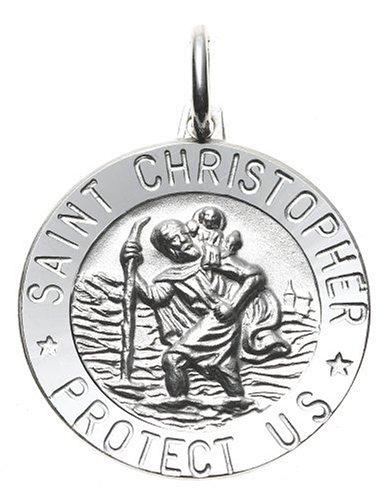 356b2502599 Popular Wedding Ring: 14k White Gold Round St. Christopher Medal
