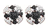 Black & White Real Diamond Hip Hop Cross Stud Earrings 14K Solid Rose Gold (0.58 Cttw)
