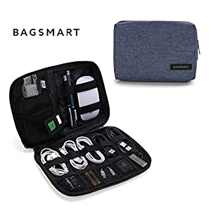 BAGSMART Small Travel Electronics Cable Organizer Bag for Hard Drives, Cables, Charger, Blue