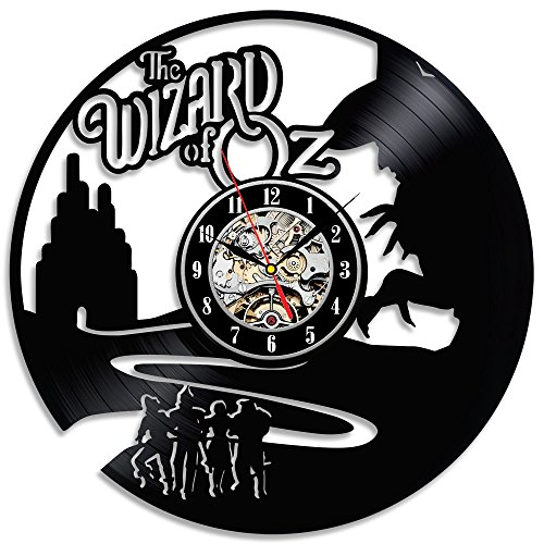 (The Wizard of Oz Black Vintage Vinyl Wall Clock Gift)