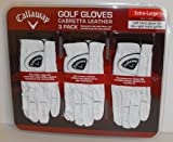 Callaway Premium Cabretta Leather Golf Gloves, Extra-Large, 3-Pack