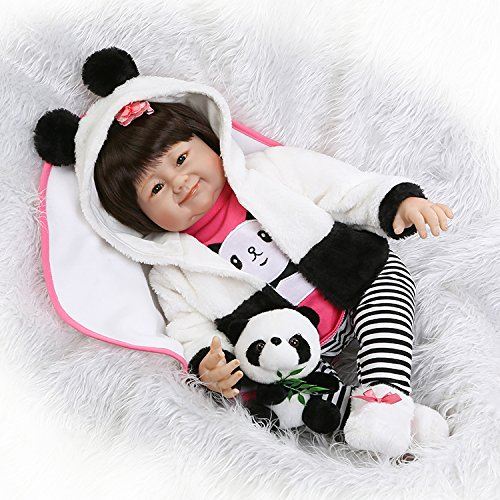 Realistic Reborn Baby Dolls Asian Toddler with Toy Panda White and Pink Outfit 22 - Shape Asian Head