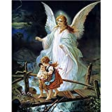 certainPL DIY 5D Diamond Painting by Number Kit, Full Drill Rhinestone Embroidery Arts Craft for Adults, Fairy with Kids, 12''x16''