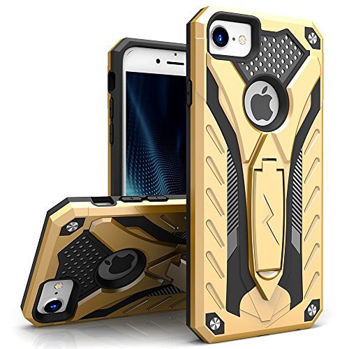 Zizo Static Series Compatible with iPhone 8 Case Military Grade Drop Tested with Built in Kickstand iPhone 7 iPhone 6 Case Gold Black]()