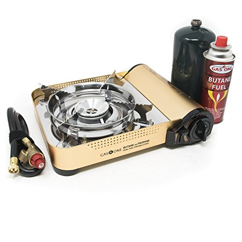 Gas ONE GS-4000P Metallic Premium Dual Fuel Propane or Butane Stove with Convenient Carrying Case, Great for Camp Stove and Portable Stove for All Cooking Application/Hurricane Supplies 2018