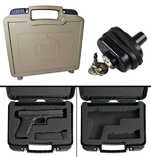 IMI Defense ZPCFS Tan Small Pistol Case with Magazine Storage Fits All Beretta PX4 Storm Models Frames Series Pistol Handgun Guns Plastic with Foam + Ultimate Arms Gear Key Trigger Lock