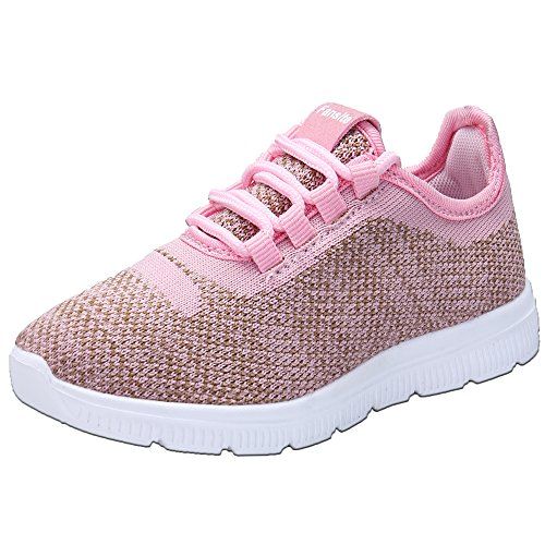 FANSITE Kid's Lightweight Sneakers Boys Girls Toddler Cute Casual Running Shoes Size 11 Pink