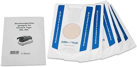 Tessuto non tessuto 10-Sacchetti di filtro sacchetto adatto per Vorwerk Tiger 265 ASPIRAPOLVERE SACCHETTI