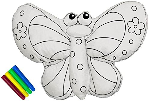 CREATIVITY ZOO – Butterfly Coloring Kit, Handmade Large Stuffed Animal for Coloring, Washable and Reusable, by CobeiHomegoods