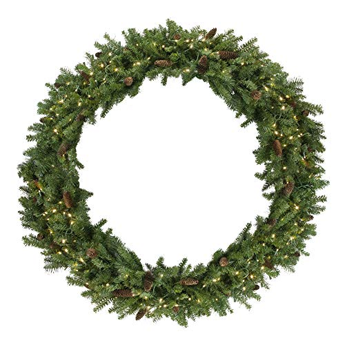 (Northlight Pre-Lit Dakota Red Pine Commercial Artificial Christmas Wreath - 5-Foot, Warm White LED)