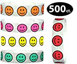 Goldistock 3/4'' Tyvek Wristbands Happy Face 500 Ct. Variety Pack- 100 Each: Neon Yellow, Neon Pink, Neon Orange, Neon Red & Aqua