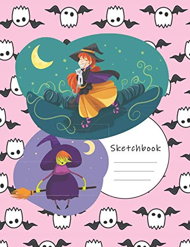 Sketchbook: Cute Witches - A Halloween Themed Large Notebook with 100 Blank Pages, Halloween Motifs Inside (8,5 x 11 inches)