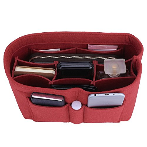 Felt Insert Bag Organizer Bag In Bag For Handbag Purse Organizer, Six Color Three Size Medium Large X-Large (Medium, Red) ()
