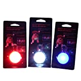 The JazMo Clip on Dog and Cat Collar Safety LED Lights 3 Pack Bundle Red - White and Blue Charm Pendant