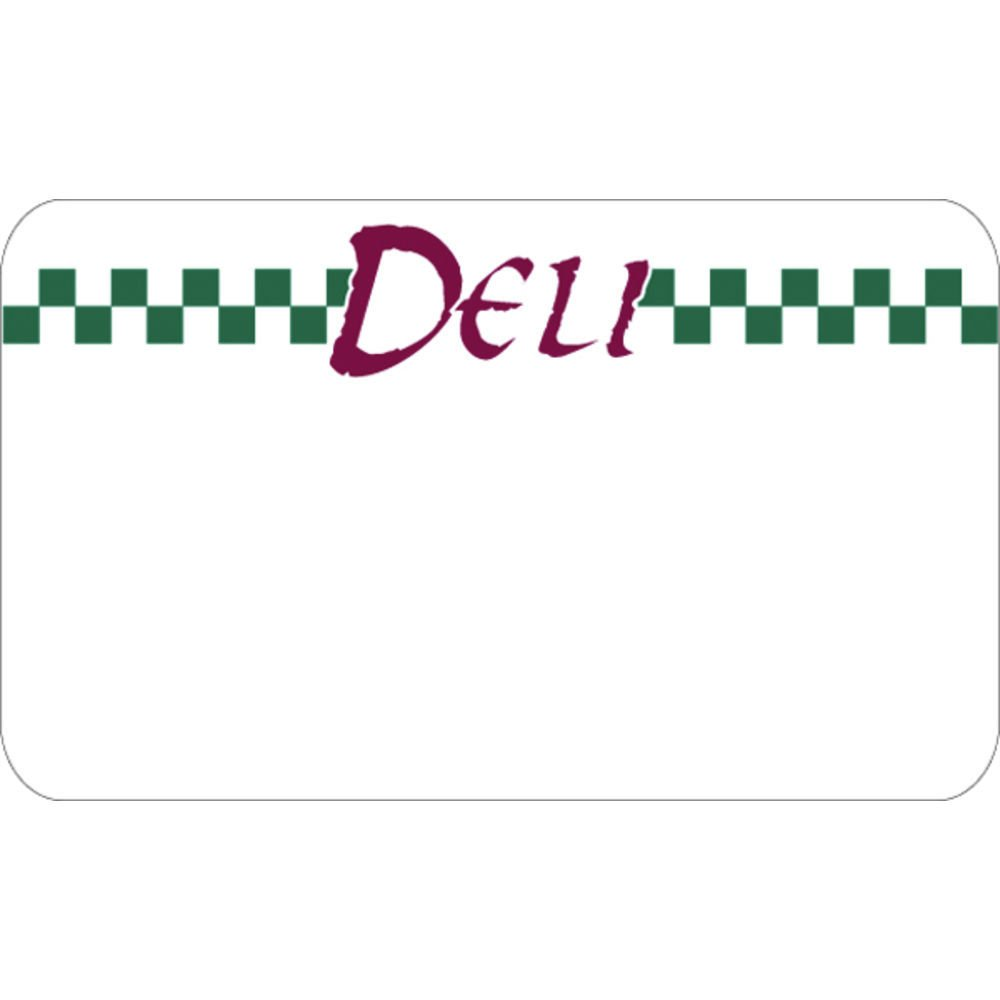Deli Tag Write on Style with Green Checks White Heat Resistant Merchandising Tag Deli with Green Checks - 3 3/4 L x 2 1/4 H, 12/Bag