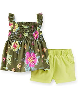 Baby Girls' 2-piece Tropical Tank & Shorts Set; Newborn; Green