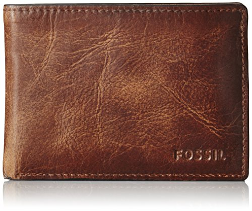 Leather Distressed Fold Bi (Fossil Men's Leather Front Pocket Bifold Wallet, Brown, One Size)