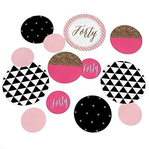 Chic 40th Birthday - Pink Black and Gold - Party Table Confetti Set - 27 Count [並行輸入品]   B077XY76CL