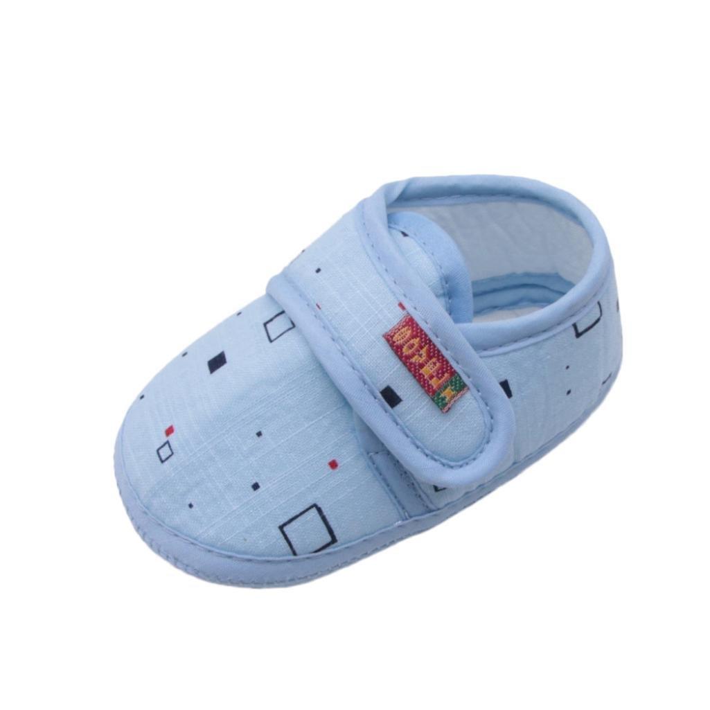 Yalasga Baby Shoes Boy Girls 0-18 Months Soft Non-Slip Walking Shoes Newborn Footwear Crib Shoes (Blue, 6~12 Month)