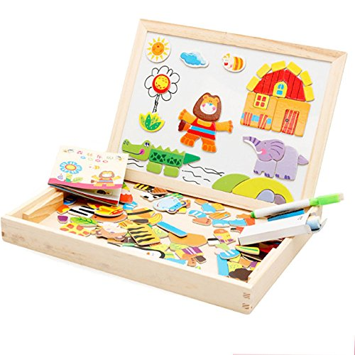 Flurries Kids Wooden Jigsaw Magnetic Board Puzzle Games Mult