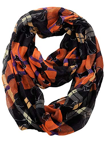 D&Y Halloween Theme Sheer Loop Infinity Scarf, Plaid with Cats]()