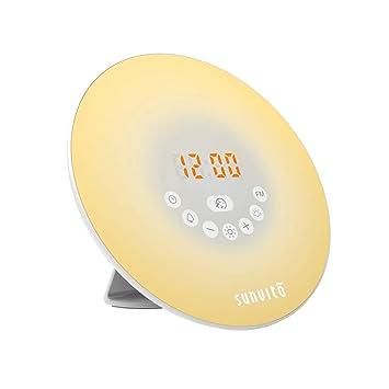 Sunvito Despertador de Luz Salida del Sol Reloj de Alarma 7 Colores Noche Luz con Sonidos Naturales,Función de Dormitar, Radio FM,Control Táctil y ...