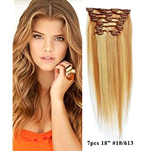 """Mike & Mary Human Hair Clip in Hair Extensions Silky Straight 18"""" 70grm 7pcs Set with 16 Clips Full Head Clip on Hair Extensions (Light Golden Brown / Bleached Blonde #18/613)"""