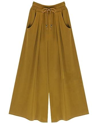 Taille Pantalons Pantalon De Femme Large Casual Haute Jupe Pantacourt Culotte Jogging X8NnP0wOk