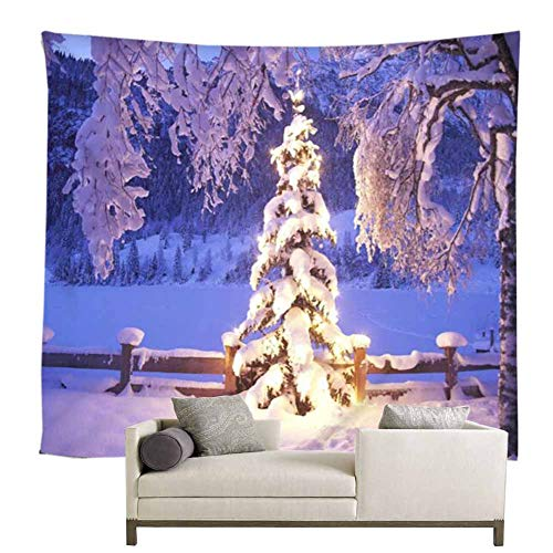 Snowy Forest Fairy Winter Wall Decor Tapestry Winter Snow Trees Light Up At Dusk Picture Christmas Winter Wonderland Party Scene Setters Background Wall Decoration For Living Room Dorm(71