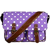 Miss Lulu Women's Canvas Satchel Bag Polka Dot Design (Purple L1157D2 PE)