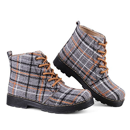Carreaux Respirent Fashion Montants Boots Classique Jaune Femmes Lacets Toile 39 Bottes Martin Chaussures Inconnu Anglais Bottines Bxpn4Y