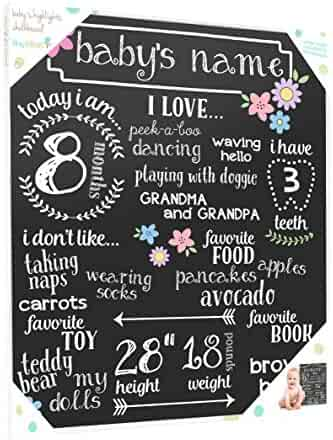 Tiny Ideas Baby's Monthly Milestone Chalkboard, Great Baby Girl Gift, Black