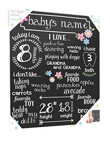 (Tiny Ideas Baby's Monthly Milestone Chalkboard, Great Baby Girl Gift,)