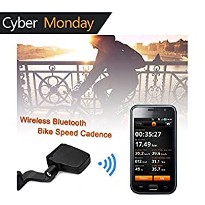Bluetooth Bike Speedometer V-Best Wireless Bluetooth 4.0 Bicycle Cadence Sensor Rate Monitor ANT Fitness for iPhone iPad Android Cycling Speedometer/Odometer (Black)
