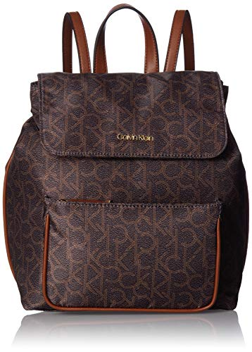 Calvin Klein Abby Nylon Flap Backpack, Brown/Khaki