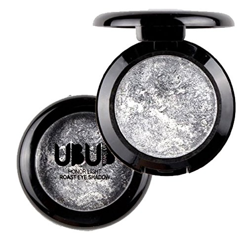 Single Baked Eye Shadow Powder Palette Shimmer Metallic Eyeshadow Palette by Fenleo(Silver)