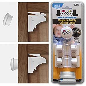Childproof Magnetic Cabinet Locks Set with 4 Locks u0026 1 Key - Drill u0026 Tool  Free - Baby Safety