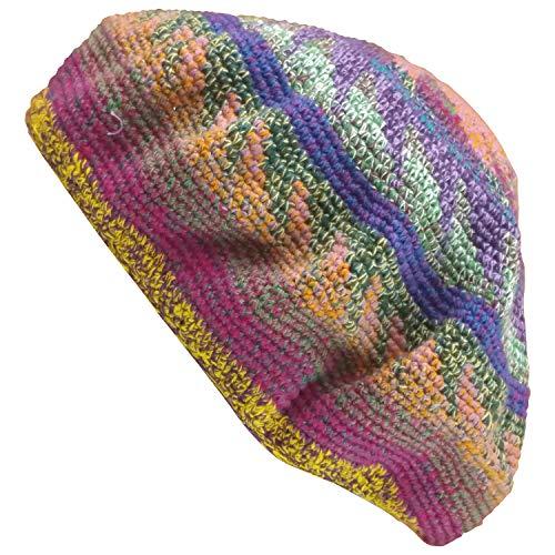 Regular Size Tam Beret Slouchy Cap Hat Crochet Cotton Flowertone Pinwheel Pattern