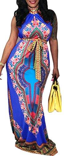 Survêtement Veste Ceinturée Domple Dashiki Cocktail D'impression Africain Bleu Robe Maxi Longue