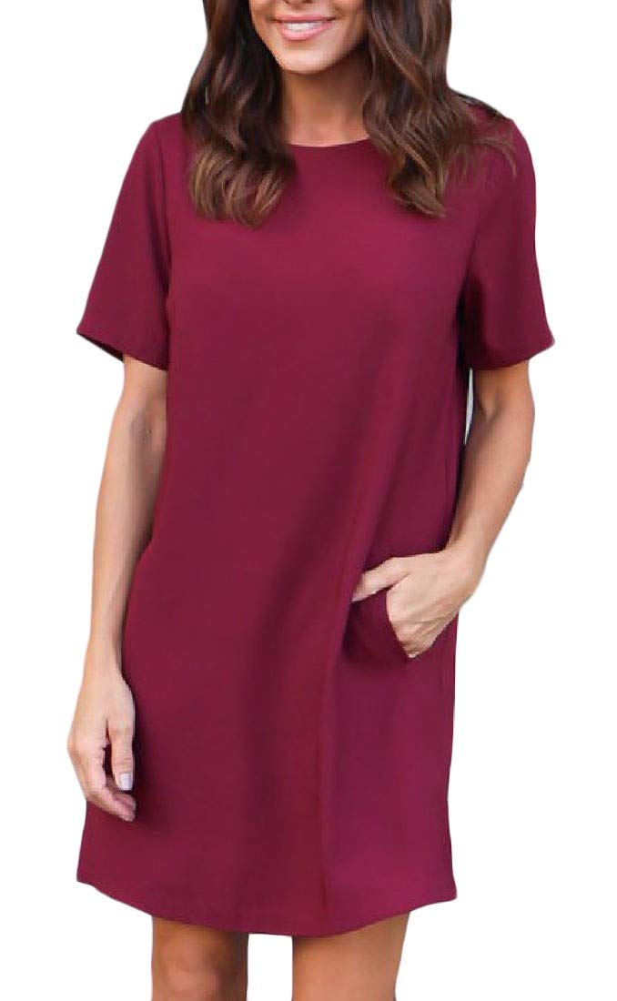 Nicelly Women Scoop Neck Fall Short Sleeve Pocket Mini A-line Dress Wine Red XS