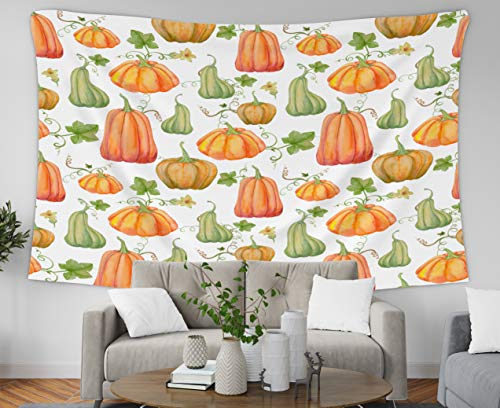 Tapestry Wall Hangings,Jacrane Art Tapestries 60X50 Inches Orange Pumpkins Halloween Pattern Watercolillustratidrawing Printing Fabric Textile Wallpaper Wrapping Pa For Dorm Bedroom Living Home Decor ()