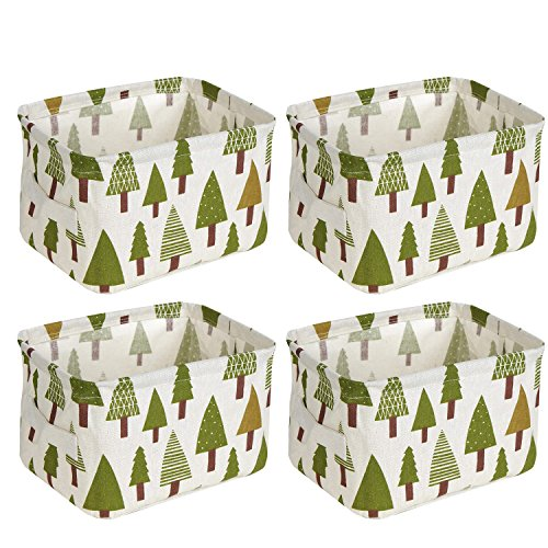 wellhouse 4 Pack Small Tree Printing Non-Woven Storage Box Foldable Organizer Cube Basket Bin Container Box for Clothes Book Socks (Tree-4 Pack)