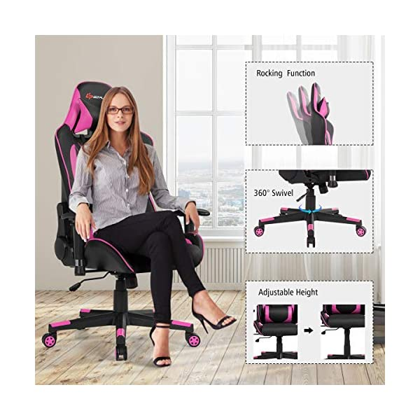Goplus Massage Gaming Chair Reclining Backrest Handrails And Seat Height Adjustment Racing Computer Office Chair Ergonomic High Back Embroidered Pu Swivel Game Chair With Headrest And Lumbar Cushion