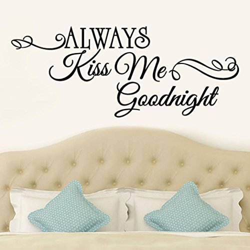 Tuscom Always Kiss Me Goodnight, Removable Words Wall Stickers Decal Home Decor Vinyl Art Mural (60x24CM/Always Kiss Me Goodnight) -