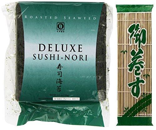 Nagai Deluxe Sushi Nori Full Sheet 50 Count + Wel Pac Sushimaki SU BAMBOO MAT 9.5