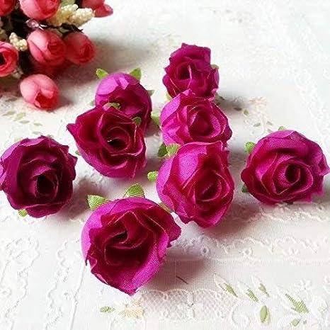50pcs 3cm Artificiales Cabezas de Flores Rosas de Tela para La Boda Fiesta