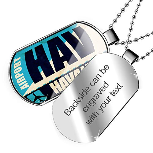 (NEONBLOND Personalized Name Engraved Airportcode HAV Havana Dogtag Necklace)